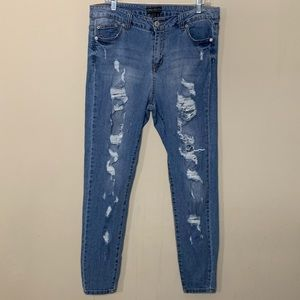 Forever 21+ Light Wash Distressed Boyfriend Jeans